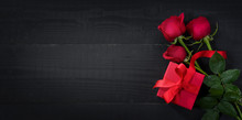 Valentine's Day Background.. Roses And Red Gift Box