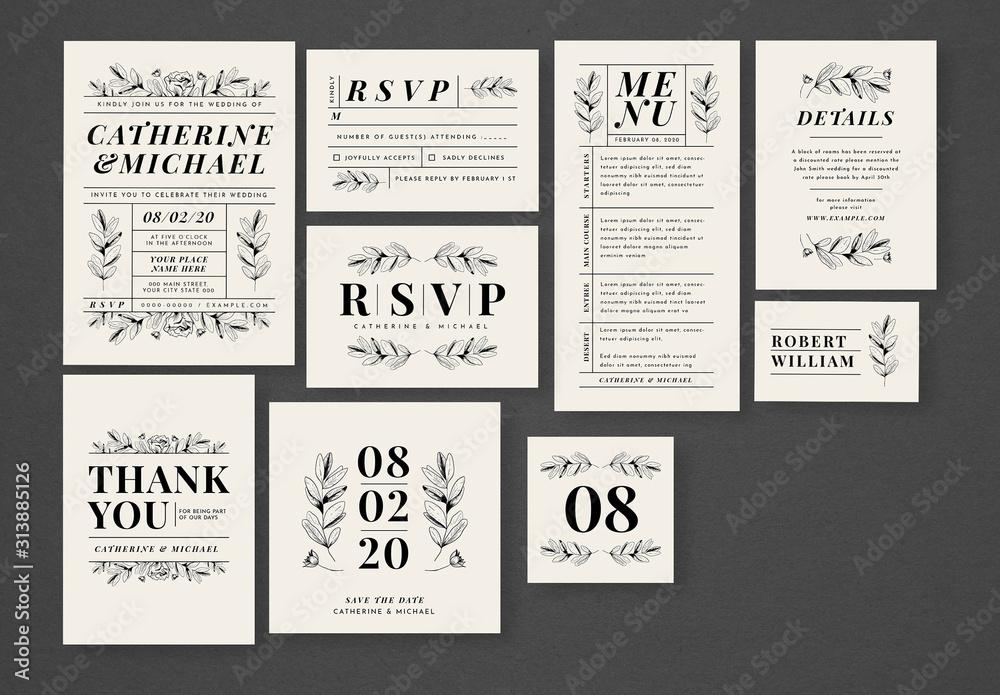 Fototapeta Wedding Invitation Set with Leaf Illustrations
