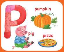 English Alphabet. ABC. Capital Letter P. Pig, Pizza, Pumpkin. Coloring Book. Coloring Page. Illustration For Children. Cute Cartoon Characters Isolated On White Background. Card. Poster