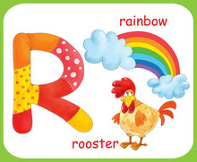 English Alphabet. ABC. Capital Letter R. Rooster, Rainbow. Coloring Book. Coloring Page. Illustration For Children. Cute Cartoon Characters Isolated On White Background. Card. Poster