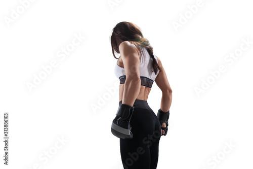 MMA female fighters isolated on white background. Fototapeta