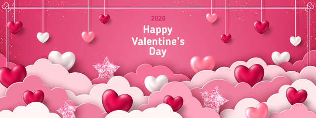Happy Saint Valentine's day card, horizontal banner with paper cut clouds and holiday objects on pink background. Glittering hearts, stars and flowers. Place for text