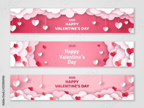 Fototapeta Happy Valentine's Day horizontal banners set with paper cut clouds and hearts. Vector illustration. Holiday bright greeting cards, love creative concept, gift voucher, invitation. Place for text. obraz