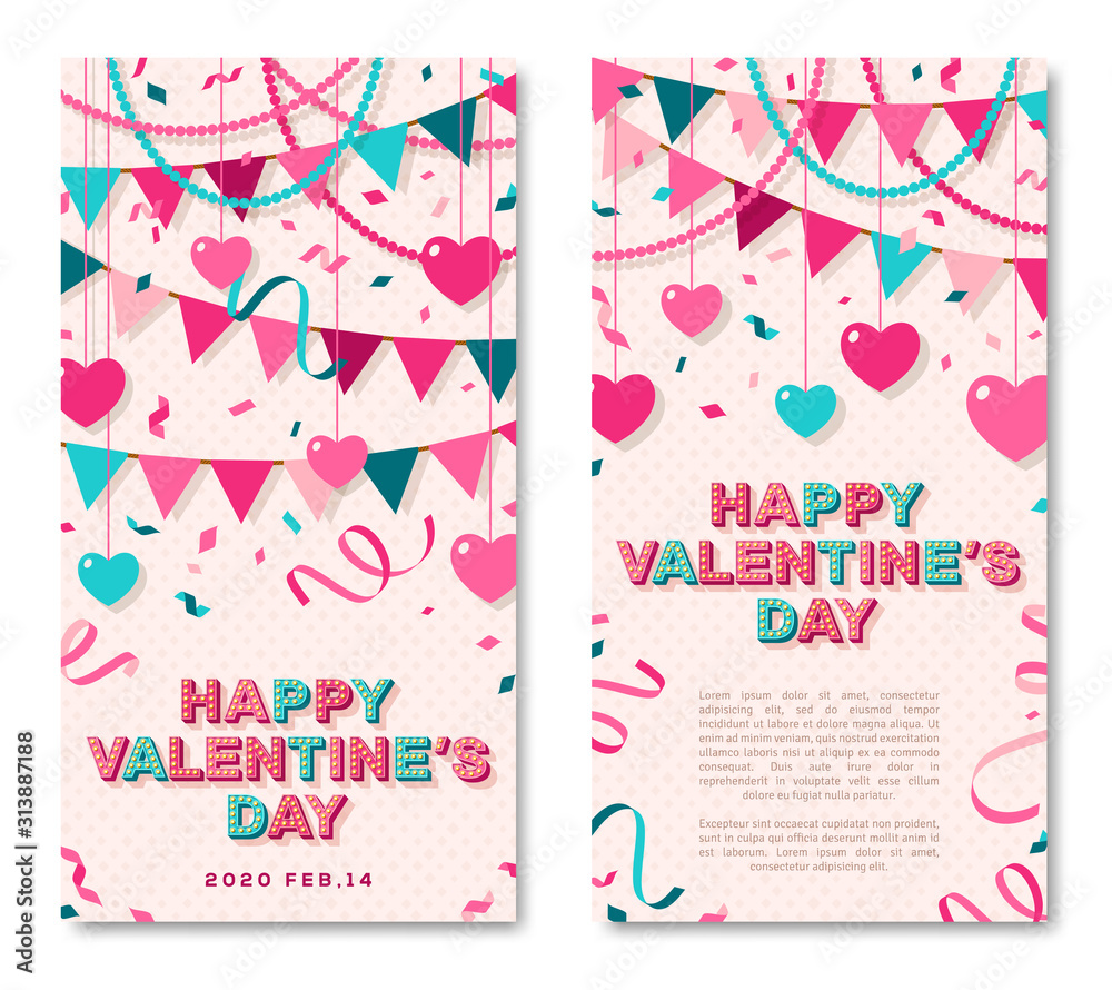 Fototapeta Happy Valentines Day vertical banners set with typography design. Vector illustration with retro light bulbs font, streamers, confetti and hanging hearts and flag garlands.