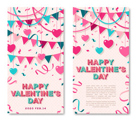 Happy Valentines Day vertical banners set with typography design. Vector illustration with retro light bulbs font, streamers, confetti and hanging hearts and flag garlands.