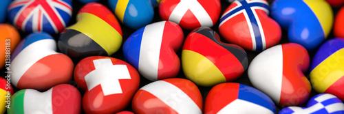 Die Landesflaggen der Länder Europas in Herzform