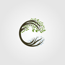 Circle Tree Logo Letter C Vector Illustration Design