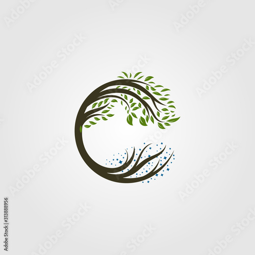 circle tree logo letter c vector illustration design Fototapet