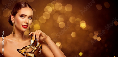 Woman Beauty and Carnival Mask, Beautiful Fashion Model Portrait on Golden Ba...