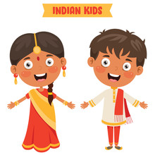 Indian Children Wearing Traditional Clothes