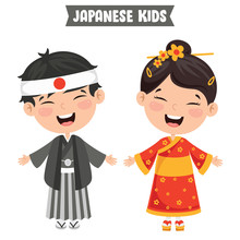 Japanese Children Wearing Trad...