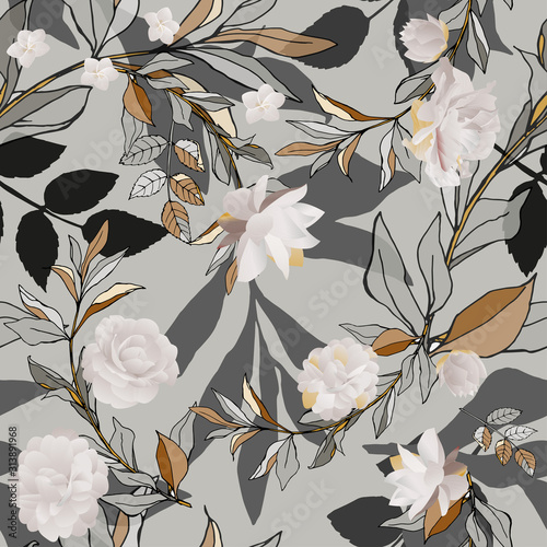 Obrazy szare  seamless-pattern-with-white-roses-and-grey-leaves-on-light-background-tropical-flowers-lily