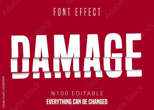 Vászonkép Damage text, editable font effect