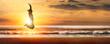 Leinwandbild Motiv silhouette freudensprung in der abendsonne am meer
