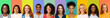 canvas print picture - Collage of young international women smiling over colorful backgrounds