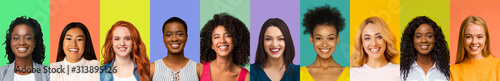 Fényképezés Collage of young international women smiling over colorful backgrounds