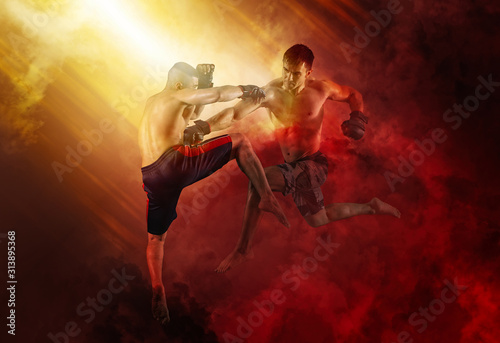 Photographie MMA boxers fighters fight in fights without rules
