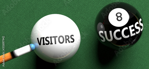 Fotografie, Obraz Visitors brings success - pictured as word Visitors on a pool ball, to symbolize