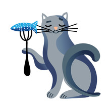 Cute Cat Holding Fork With Fis...