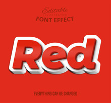 Red Text, Editable Font Effect