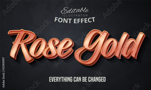 Fototapeta Rose gold text, editable font effect obraz
