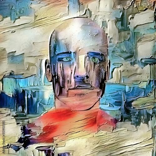 Man in clouds. Modern digital painting Wallpaper Mural