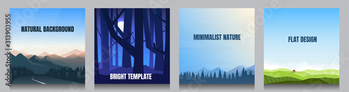 Minimal vector backgrounds set of 4 landscapes. Social media, blog post templates. Mountain road, night woods, blue forest scene, alone house near the green meadow. Minimalist natural graphic posters