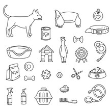 Pet Store For Dogs Set Black And White. Vector Illustration Doodles