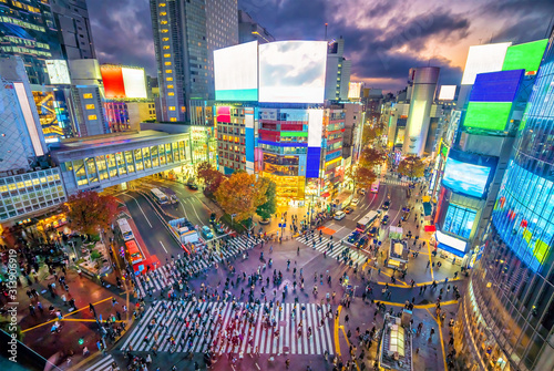 Fotomural Shibuya Crossing from top view at twilight in Tokyo