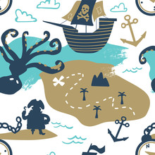 Pirates Seamless Pattern. Octopus, Ship, Treasure, Anchor, Island And Map.