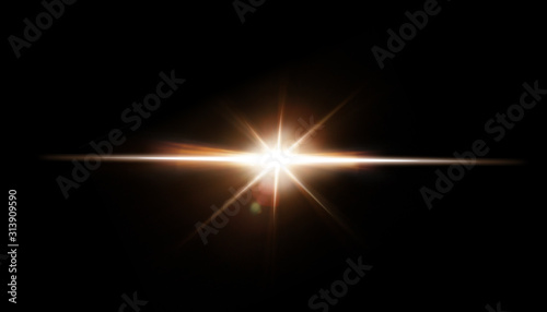 Obraz Lens Flare. Light over black background. Easy to add overlay or screen filter over photos. Abstract sun burst with digital lens flare background. Gleams rounded and hexagonal shapes. - fototapety do salonu