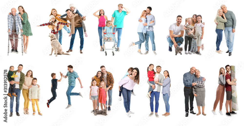 Fototapeta Collage with different people on white background