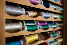Colorful Spools Of Sewing Thread