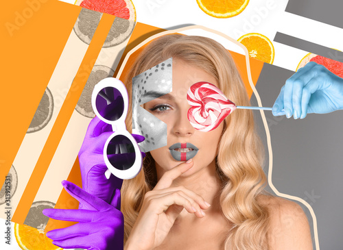 Fototapeta Creative collage with fashionable young woman obraz