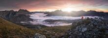 Man Observe Mists At Sunrise F...