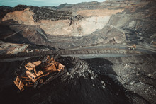 Aerial View Of Mechanical Digger In Coal Mine