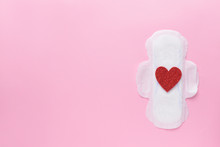 Menstrual Pad With Red Heart O...
