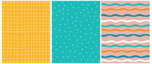 Geometric Seamless Vector Patterns. Simple White, Orange And Blue Waves Print. Cute Hand Drawn Abstract Flowers On A Turquoise Background. White Tiny Grid Isolated On A Warm Yellow Layout.