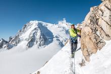 Smiling Alpinist Navigates Ste...