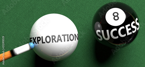 Exploration brings success - pictured as word Exploration on a pool ball, to sym Wallpaper Mural