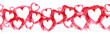 Leinwandbild Motiv Watercolor border of pink hearts. Beautiful seamless composition for design. Romantic ornament for header.