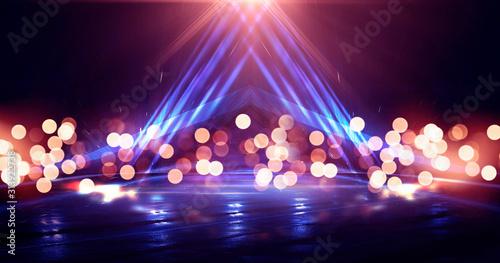 Empty background scene. Dark street reflection on wet asphalt. Rays of neon light in the dark, neon figures, smoke. Background of empty stage show. Abstract dark background. - 313922738