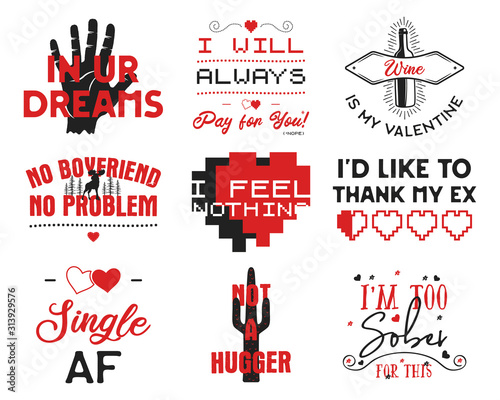 Funny Valentines Day typography logos emblems set. Holiday prints for t-shirts, poster, cards and stickers. Stock vector designs isolated on white