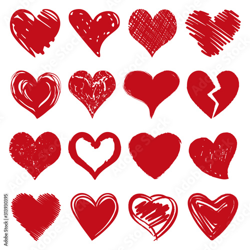 Obraz na plátně Heart Icon Vector Set