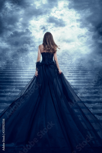 Carta da parati Woman in Long Dress Back Rear View Climbing Stone Stairs to Sky, Girl Raising My