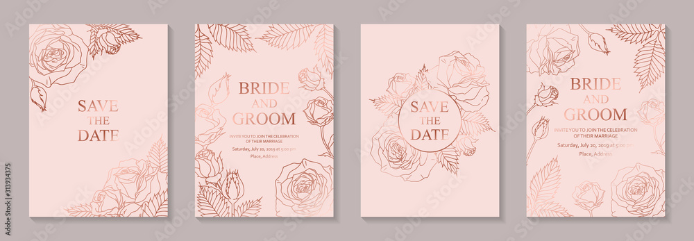 Fototapeta Set of luxury floral wedding invitation design or greeting card templates with rose gold flowers on a pink background.