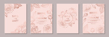 Set Of Luxury Floral Wedding Invitation Design Or Greeting Card Templates With Rose Gold Flowers On A Pink Background.
