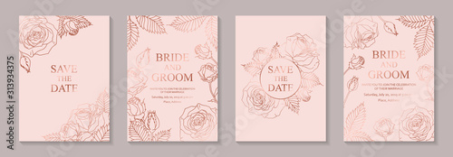 Fototapeta Set of luxury floral wedding invitation design or greeting card templates with rose gold flowers on a pink background. obraz