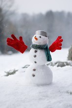 Lovely Smiling Snowman In The ...