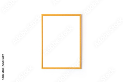 Empty wooden square frame in front of white wall Canvas Print